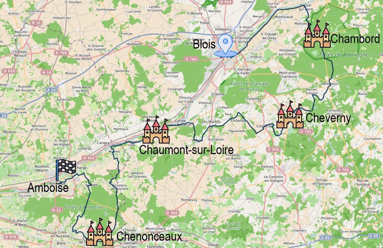 Carte itinéraire - Echappée à vélo entre Chambord et Chenonceau