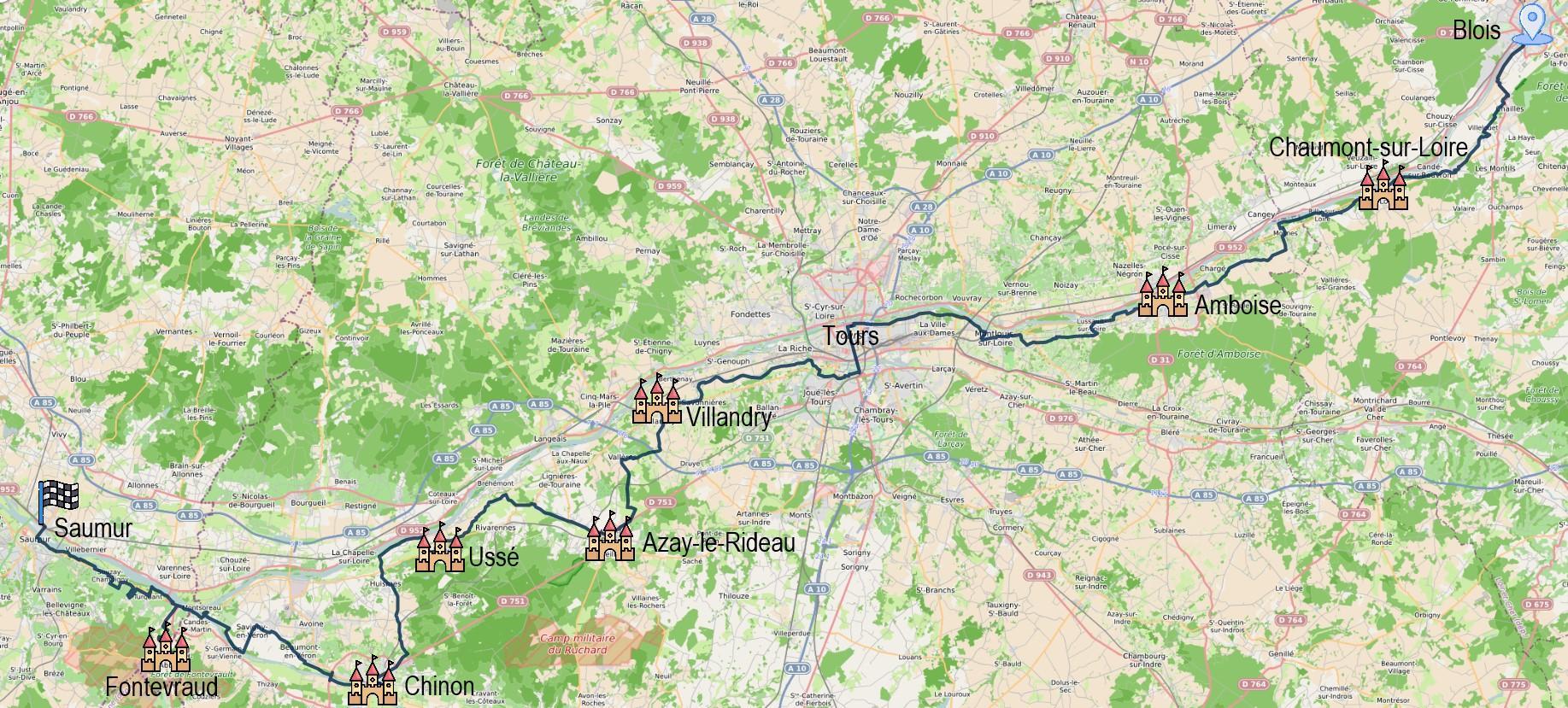 Carte itinéraire du séjour Château de la Loire à vélo de Blois à Saumur