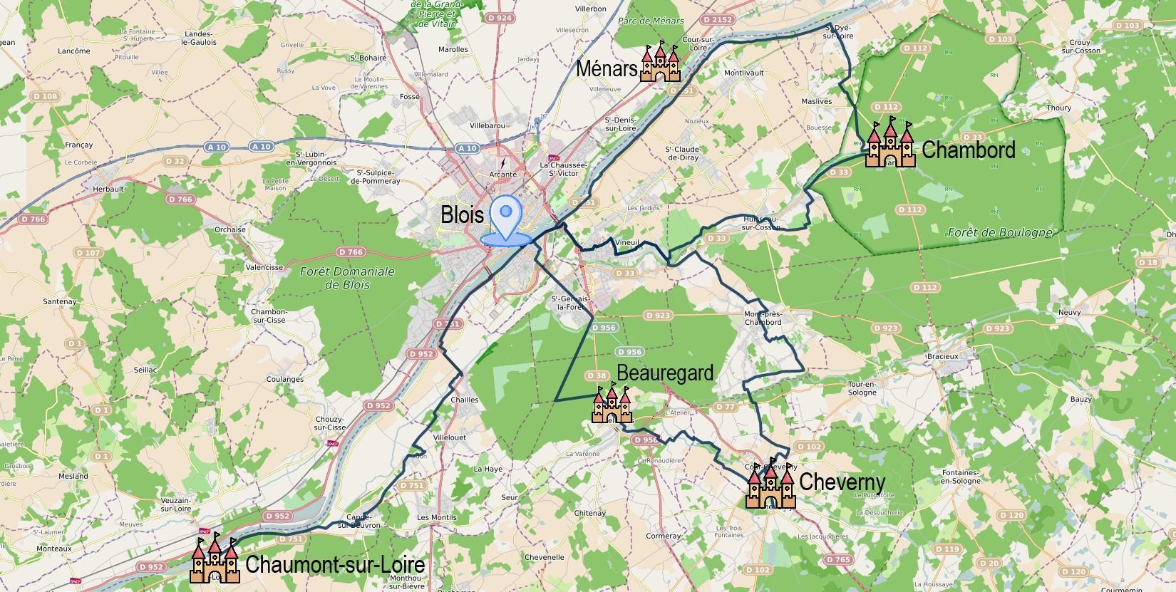 Carte itinéraire - Escapade à vélo Chambord – Cheverny – Chaumont