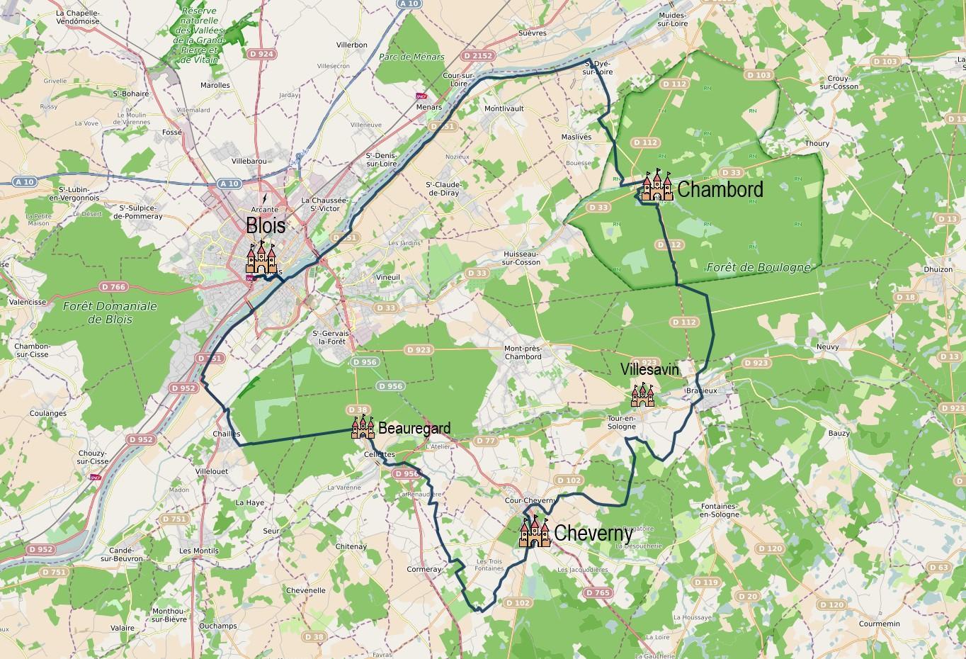 Carte de l'itinéraire à vélo