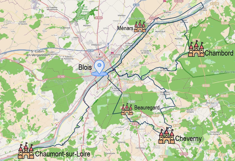 Carte itinéraire du séjour à vélo entre Loire et Sologne