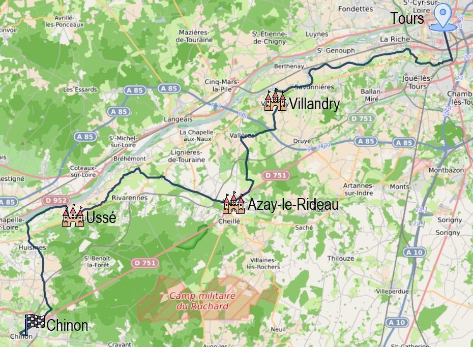 Randonnée à vélo en famille entre Tours et Chinon