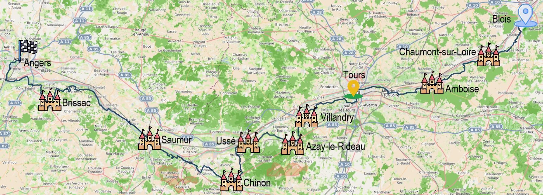 Carte itinéraire du séjour De Blois à Angers en 6 jours