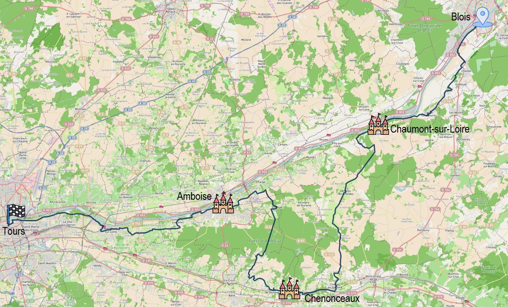 Blois - Tours via Amboise et Chaumont