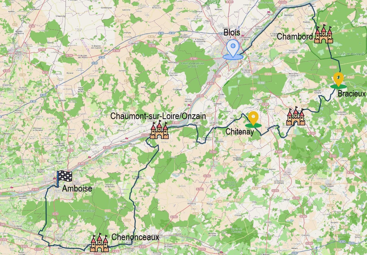Carte itinéraire du séjour itinerance à vélo Blois Amboise via Chambord et Chenonceau