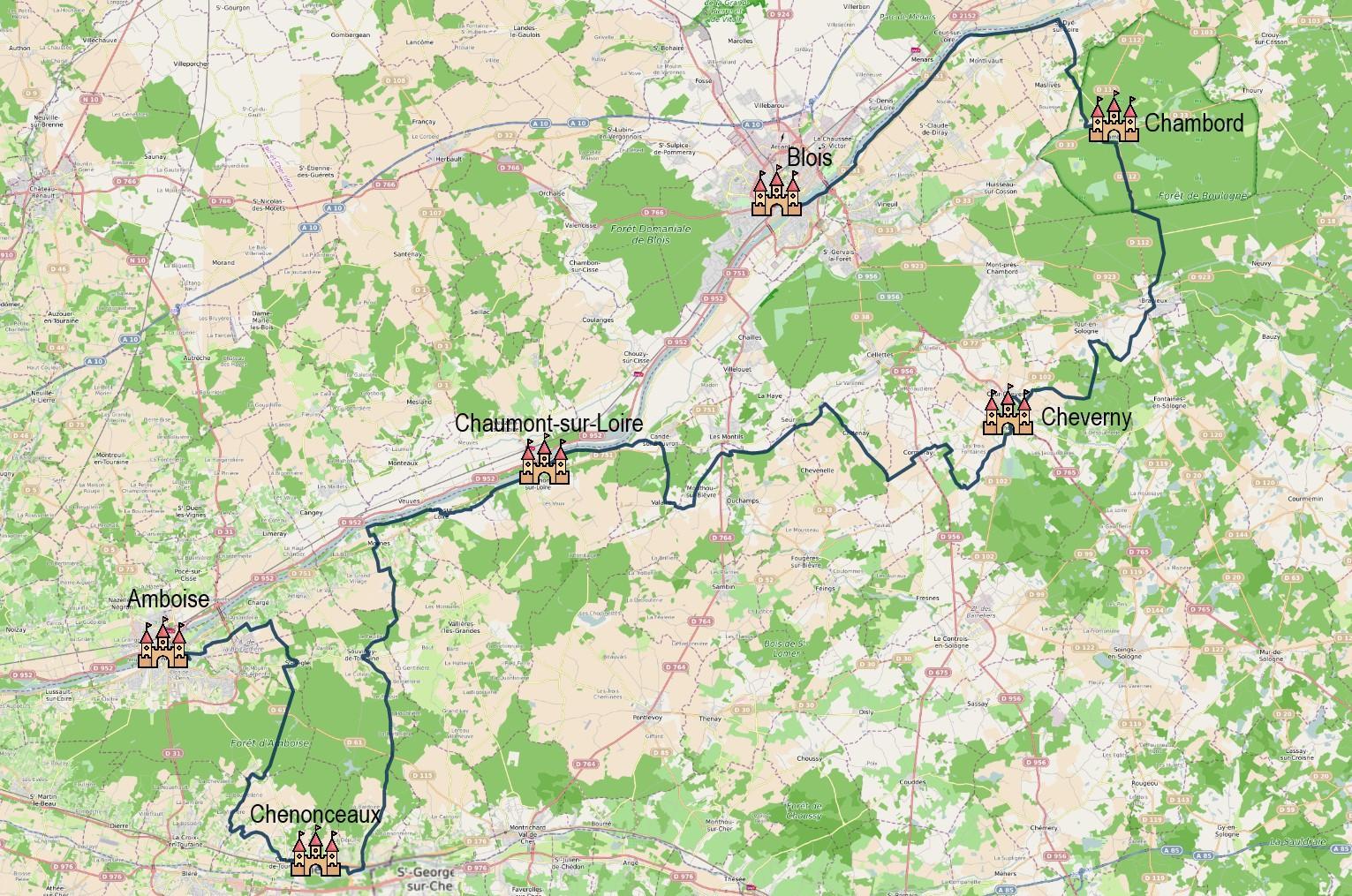 Echappée à vélo entre Chambord et Chenonceau